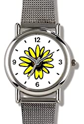Black Eyed Susy or Susan Flower - WATCHBUDDY® ELITE Chrome-Plated Metal Alloy Watch with Metal Mesh Strap - Small ( Children's Size - Boy's Size & Girl's Size )