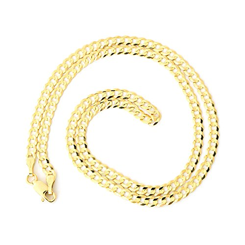 Men's Solid 10k Yellow Gold Comfort Cuban Curb 3.6mm Chain Necklace, 20'' by Beauniq