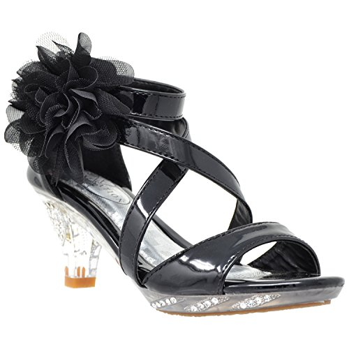 Generation Y Kids Dress Sandals Strappy Rhinestone Flower Clear High Heel Shoes Black SZ 3 Youth]()