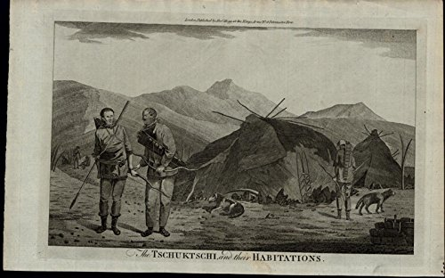 Engraved Tent - Tschuktschi Cook Animal Hide Tents ca. 1780's fascinating old engraved print