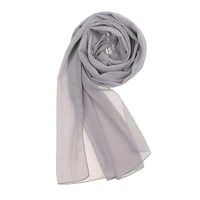 perfeclan Bufanda Larga de Gasa Color Sólido Manta Furland Transpirable para Playa Viaje de Mujer Chica - gris, como se describe: Ropa y accesorios
