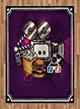Modern Area Rug by Ambesonne, Cartoon like Cinema Movie Image Burgers Popcorns Glasses Watching Film Work of Art Print, Flat Woven Accent Rug for Living Room Bedroom Dining Room, 5.2 x 7.5 FT, Plum