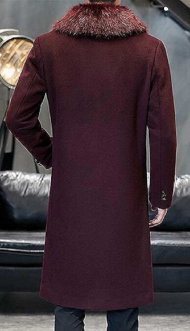Ghsywgy Men's Longline Fall & Winter Slim Fit Outerwear Faux-Fur-Collar Wool-Blend Pea Coat Jacket Wine Red 5jV0v