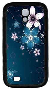 Samsung S4 Case Blue And Pink Flowers TPU Custom Samsung S4 Case Cover Black