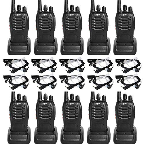 Two Way Radio Rechargeable 2 Way Radio UHF FRS VOX Long Range 2-Way Radios Walkie Talkies for Adults with Secret Service Earpiece 10 Radio