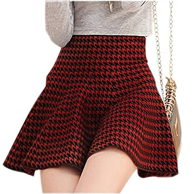 [Black&Red Houndstooth]Ladies' Weave Flare Skirts Women's Fashion Short Skirts