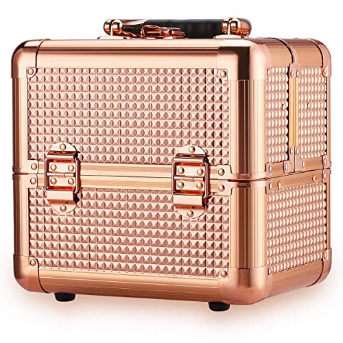 Ovonni Professional Portable Small Makeup Train Case, Artist Lockable Aluminum Cosmetic Organizer Storage Box with Compartments (Rose Gold)