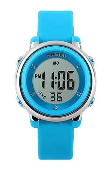 voguelady Kids Fashion reloj Digital relojes de cuarzo alarma cronógrafo cronómetro 50 M impermeable niños niñas reloj de pulsera azul 1100: Amazon.es: ...