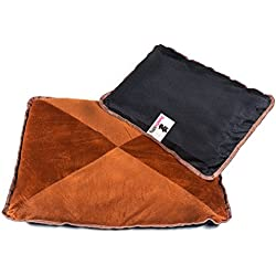 2 Self-Warming Cat Beds, Hypoallergenic and Luxury, Velvety Brown Top with Anti Slip Back, Pack of 2 (22x18.5 and 17x11 inches)