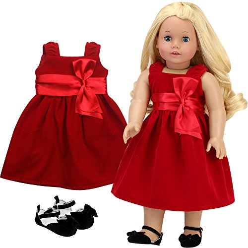 Sophia's 18 Inch Doll Clothes Special Occassion Doll Dress | Red Velvet Holiday Girl Doll Dress & Black Velvet Shoes Perfect for American Dolls & More!