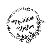 Flower round frame Handmade with love by Created by personalized custom name Self inking text business pre ink stamp 1.5''