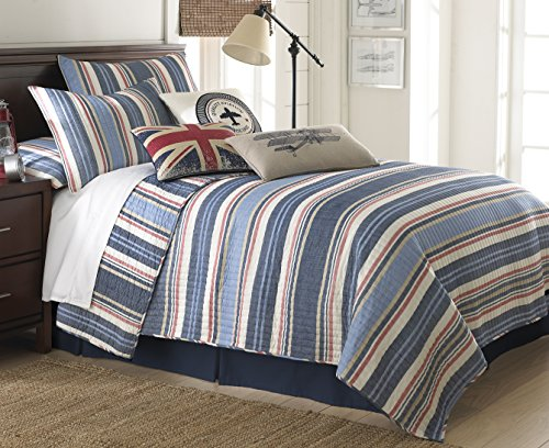 Levtex Oliver Twin Cotton Quilt Set Blue, White, Red Stripes