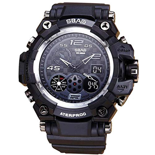 WoCoo Mens Military Digital Outdoor Electronic Water Resistant Sport Watch Large Wrist for Boys Teens(Black,Free Size)