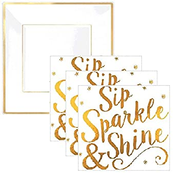 Gold Sparkle Party Plates and Napkins - Serves 16 Guests