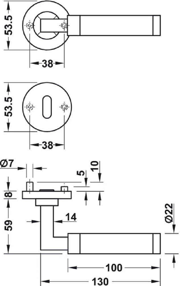 Moderne poign/ée de porte en acier inoxydable poign/ée de porte sur rosace en rond poign/ée de pour porte de chambre/ /LDH 2180/| BB/ en acier inoxydable mat/ /Serrure /à garnitures