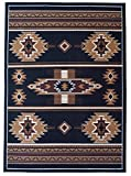 Rugs 4 Less Collection Southwest Native American Indian Area Rug Design R4L SW3 in Black(5'x7')