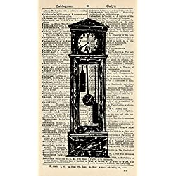 Grandfather Clock Art Print - Victorian Art Print - Vintage Art Print - Vintage Dictionary Art Print - Wall Art - Gift - Artwork - Dictionary Page - Illustration - Book Print 649B
