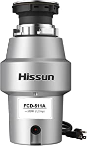 HISSUN Garbage Disposal,1/2 hp Food Waste Disposer with Power Cord 370W Garbage Disposals 1.05L Continues Feed Easy Install for Kitchen