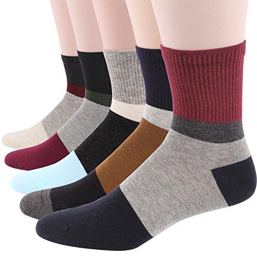 RioRiva Men's Cotton Contrast Color Dress Socks Assorted Argyle Spandex Socks (US Men Size 10.5-14/EU 44.5-49, MSK42 - Pack of 5)