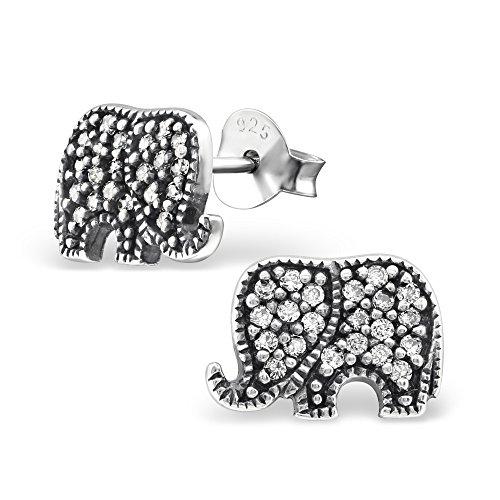 ICYROSE 925 Sterling Silver Oxidized Crystal CZ Elephant Stud Earrings for Women or Girls 30796 (Nickel Free)