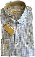 Michael Kors Regular Fit 100% Cotton Dress Shirt Checkered Blue 16 34-35