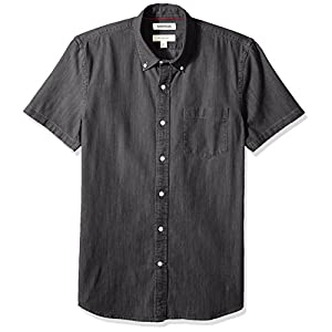 Men's Slim-Fit Short-Sleeve Denim Shirt