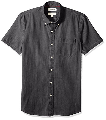 (Goodthreads Men's Slim-Fit Short-Sleeve Denim Shirt, Washed Black, XX-Large)