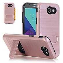 Galaxy J3 Emerge / J3 Prime / Amp Prime 2 / Express Prime 2 Case, MCUK [Shockproof] Hybrid Dual Layer Hard Case Cover with Card Slot and Kickstand for Samsung Galaxy J3 2017 (Rose Gold)