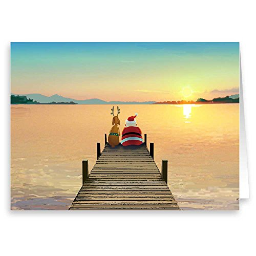 Dock Sunset Christmas Card - 18 Boxed Cards and ()