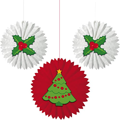 Creative Converting 3 Fans Christmas Tissue Fans with Attachments, Christmas Tree and Holly, - Paper Christmas Lanterns