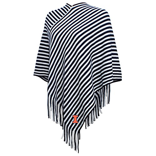 NCAA Illinois Illini FeWomen's Campus Specialties Striped Team Poncho, Navy/White, One Size
