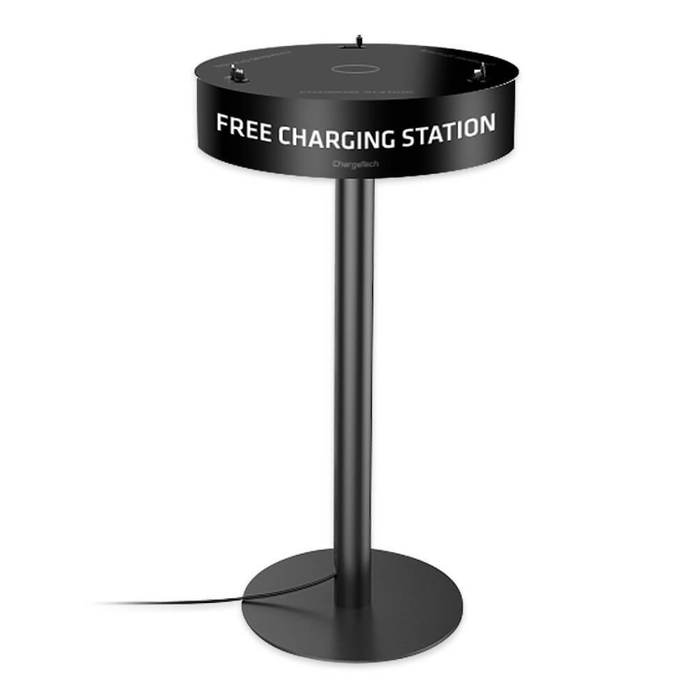 Power Table Cell Phone Charging Station w/ 6 Universal Charging Tips for All Devices + 1 Wireless Charging Pad. Perfect for Events, Bars, Offices, etc. Fully Customizable - by ChargeTech (Model: TCS6)