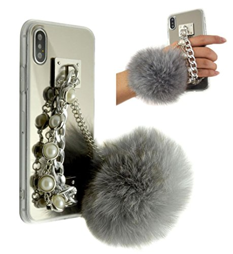 iPhoneX Case,iPhone X Pearl Chain Holder Fur Ball Case,Goodaa Luxury Hairy Fur Plush Ball Pearl Metal Chain Holder Bracelet Cover Mirror Case For iPhone X 10(Grey)