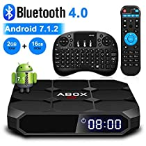 Android 7.1 TV Box, ABOX A1 Max Android TV Box with 2GB RAM 16GB ROM, Quad Core, A53 64bits, Bluetooth 4.0, with MiniKeyboard