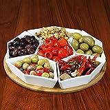 Elama Ceramic Stoneware Condiment Appetizer Set, 7