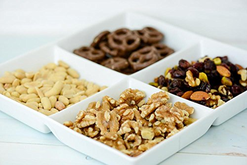 Delixie Sweet & Salty Platter Gift Set Cont. Chocolate Almonds, Chocolate Pretzels, cashews and Nut Mix (Almonds, Dried Papaya, Dried Cranberries, Sunflower Seeds) Feat. 4 Section Ceramic Bowl
