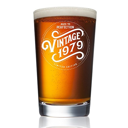 1979 (40th Birthday in 2019) Gifts for Men and Women Beer Glass - 16 oz Funny Vintage Pint Glasses for Decorations and Party Supplies - Gift Ideas for Dad, Mom, Husband, Wife - Best Pub Craft Beers Mu -