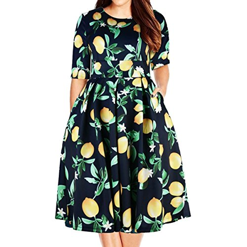 Samtree Women's Plus Size Floral 3/4 Sleeve Backless Cocktail Party Swing Dress,01-blue ,Tag size 24 Plus /US 8XL/UK 28 -