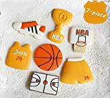 gourmet cookie cutters - Astra shop 7-Piece Stainless Steel Sports Suit Trophy Basketball Ball Hoop Court Cookie Cutters Set