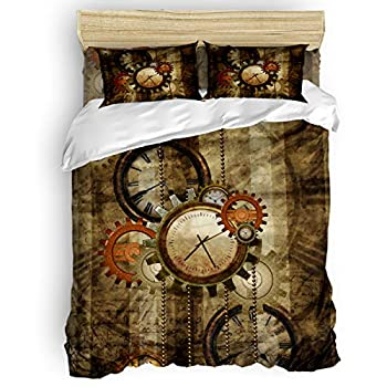 Image of Anzona 4 Piece Bedroom Bedding Set Twin Size, Include 1 Duvet Cover 1 Bed Sheet 2 Pillow Shams, Retro Steampunk Clocks and Gears Technology, Durable Microfiber Soft Comforter Cover for Kids/Adults Home and Kitchen