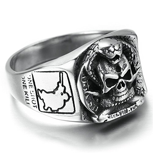 KnSam Men Stainless Steel Band Rings Skull Head Comfort Fit Black Silver Size 13 [Novelty Ring]