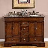48 Inch Bathroom Vanities Silkroad Exclusive Baltic Brown Granite Top Double Sink Bathroom Vanity with Cabinet, 48-Inch