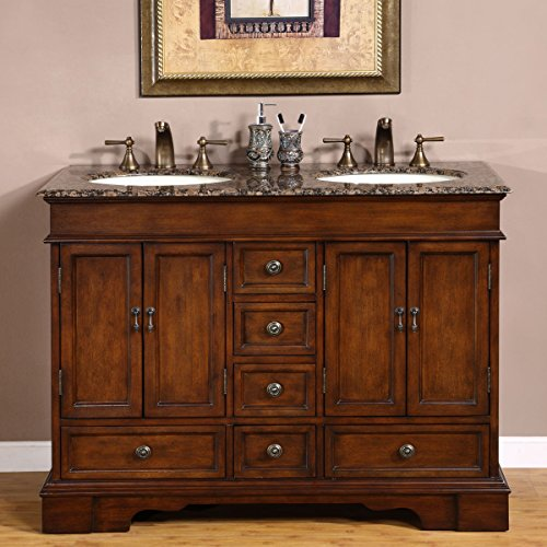 Baltic Brown Granite (Silkroad Exclusive Baltic Brown Granite Top Double Sink Bathroom Vanity with Cabinet, 48-Inch)