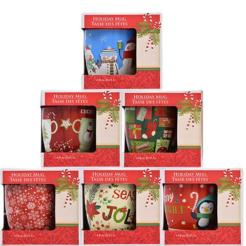 Gift-Boxed Christmas Holiday Mug, 12 oz, Design assorted among those pictured