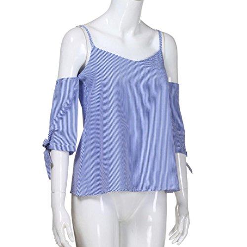 Blouse ~ Bleu t XL Wolfleague Courte Sexy Manche Blouse Pinstripe Blouse Femme Chemises Tops Paule S xFPgw4S