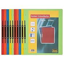 Idena 300041 - Paquete de 10 carpetas (cartulina, A4), color verde, amarillo, rojo y naranja