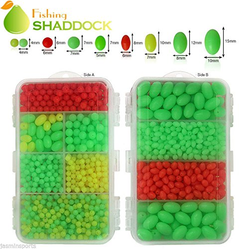 Easy Catch ® 1000pcs/box Hard Plastic Oval Shaped Fishing Beads Fish Round Beads Fishing Lures Biats Beads Fishing Tackle Tools Eggs for Saltwater (Lure Beads)