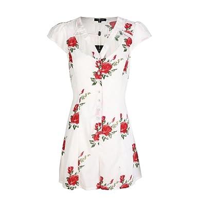 fd46974d14d RICHKOKO Women Floral Print Cut Out Cap Sleeve Tie Back Button Jumpsuit (S