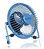 "PC Hardware : O2COOL 4"" USB Personal Desk Fan – Portable Mini Table Cooling Fan - Plugs into Computer - Adjustable 360° Tilt, Silent, Rubber Grip Feet - Blue"