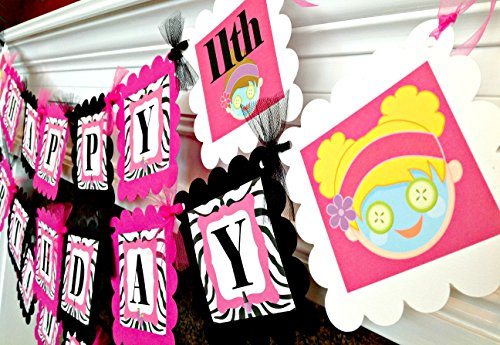 PARTY PACK SPECIAL - Spa Happy Birthday Collection - Zebra Backgrounds & Hot Pink, Black and White Accents - Party Packs (Zebra Spa Party Supplies)
